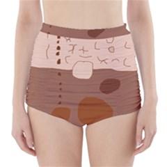 Brown abstract design High-Waisted Bikini Bottoms