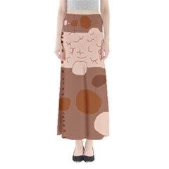 Brown abstract design Maxi Skirts