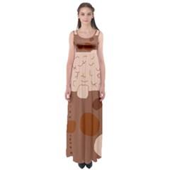 Brown abstract design Empire Waist Maxi Dress