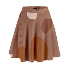 Brown abstract design High Waist Skirt