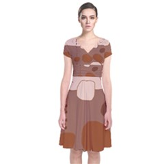 Brown abstract design Short Sleeve Front Wrap Dress