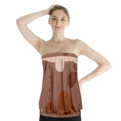 Brown abstract design Strapless Top