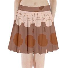 Brown abstract design Pleated Mini Mesh Skirt