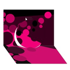 Pink dots Circle 3D Greeting Card (7x5)