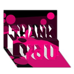 Pink dots THANK YOU 3D Greeting Card (7x5)