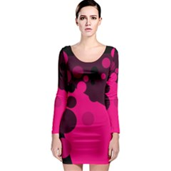 Pink dots Long Sleeve Bodycon Dress
