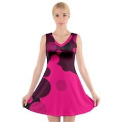 Pink Dots V Neck Sleeveless Skater Dress