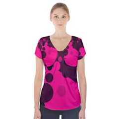 Pink dots Short Sleeve Front Detail Top