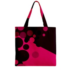 Pink dots Zipper Grocery Tote Bag