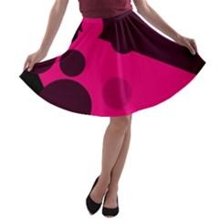 Pink dots A-line Skater Skirt