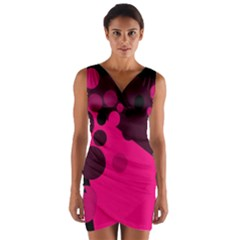 Pink dots Wrap Front Bodycon Dress