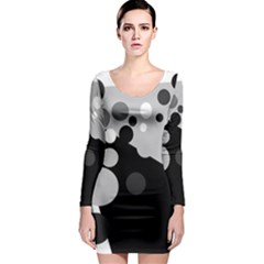 Gray decorative dots Long Sleeve Bodycon Dress