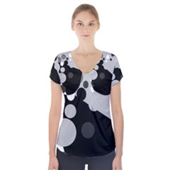 Gray Decorative Dots Short Sleeve Front Detail Top