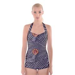 SDA1535 Indigenous Wearable Art from Central Australia Boyleg Halter Swimsuit