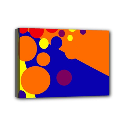 Blue and orange dots Mini Canvas 7  x 5