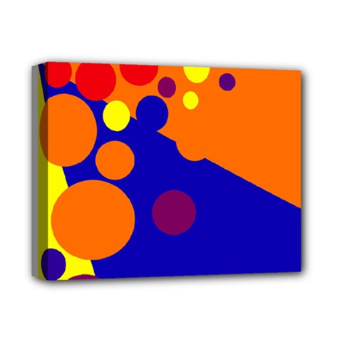 Blue and orange dots Deluxe Canvas 14  x 11