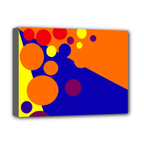 Blue and orange dots Deluxe Canvas 16  x 12