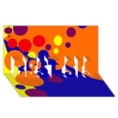 Blue and orange dots BEST SIS 3D Greeting Card (8x4)