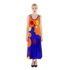 Blue And Orange Dots Sleeveless Maxi Dress