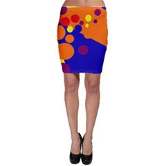 Blue and orange dots Bodycon Skirt