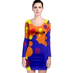 Blue and orange dots Long Sleeve Bodycon Dress