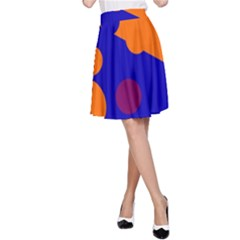 Blue and orange dots A-Line Skirt