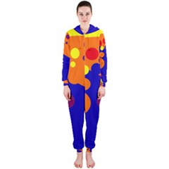 Blue and orange dots Hooded Jumpsuit (Ladies)