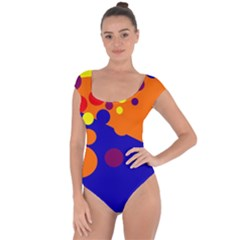 Blue and orange dots Short Sleeve Leotard