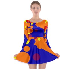 Blue and orange dots Long Sleeve Skater Dress
