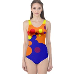 Blue and orange dots One Piece Swimsuit