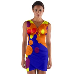 Blue and orange dots Wrap Front Bodycon Dress