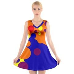 Blue and orange dots V-Neck Sleeveless Skater Dress