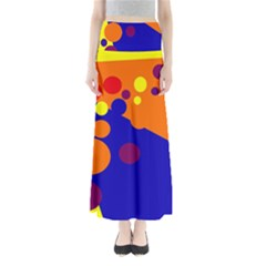 Blue And Orange Dots Maxi Skirts