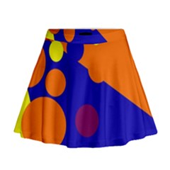 Blue and orange dots Mini Flare Skirt