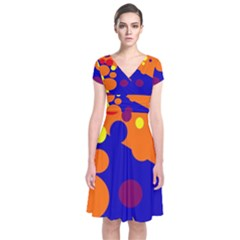Blue and orange dots Short Sleeve Front Wrap Dress