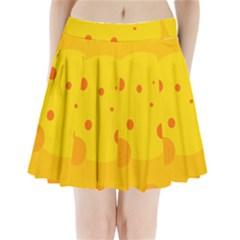 Abstract sun Pleated Mini Mesh Skirt