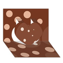 Brown abstract design Heart 3D Greeting Card (7x5)