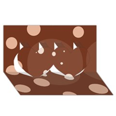 Brown abstract design Twin Hearts 3D Greeting Card (8x4)