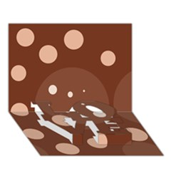 Brown Abstract Design Love Bottom 3d Greeting Card (7x5)