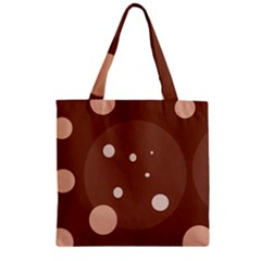 Brown abstract design Zipper Grocery Tote Bag