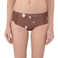 Brown abstract design Mid-Waist Bikini Bottoms