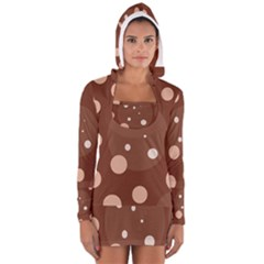 Brown abstract design Women s Long Sleeve Hooded T-shirt