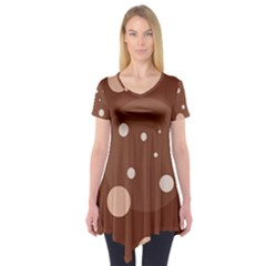 Brown abstract design Short Sleeve Tunic