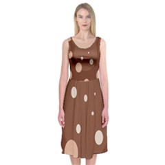 Brown abstract design Midi Sleeveless Dress