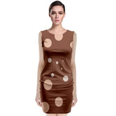 Brown abstract design Classic Sleeveless Midi Dress