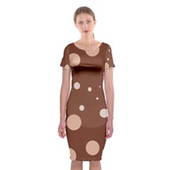 Brown abstract design Classic Short Sleeve Midi Dress