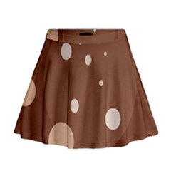 Brown abstract design Mini Flare Skirt