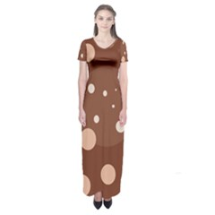 Brown abstract design Short Sleeve Maxi Dress