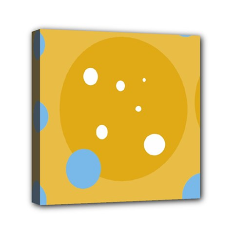 Blue and yellow moon Mini Canvas 6  x 6
