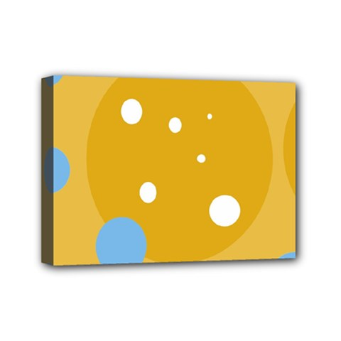 Blue and yellow moon Mini Canvas 7  x 5